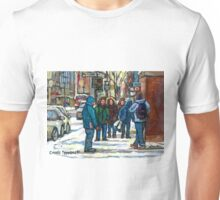 MONTREAL ART PAINTINGS MONTREAL DOWNTOWN WINTER SCENE Unisex T-Shirt