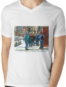 MONTREAL ART PAINTINGS MONTREAL DOWNTOWN WINTER SCENE Mens V-Neck T-Shirt