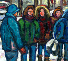 MONTREAL ART PAINTINGS MONTREAL DOWNTOWN WINTER SCENE Sticker