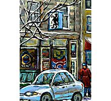 PAINTINGS OF MONTREAL RUE NOTRE DAME WINTER SCENE Photographic Print