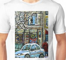 PAINTINGS OF MONTREAL RUE NOTRE DAME WINTER SCENE Unisex T-Shirt