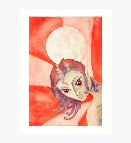 Red Fairy Moon Art Print