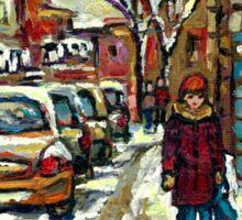 VERDUN AVENUES URBAN WINTER PAINTINGS MONTREAL ART Sticker