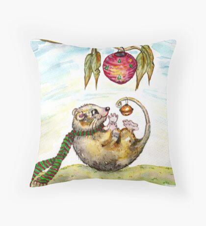 Jingle Possum Bells Throw Pillow