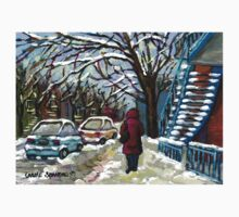 WALKING PAST THE BLUE STAIRCASE VERDUN MONTREAL WINTER SCENE T-Shirt