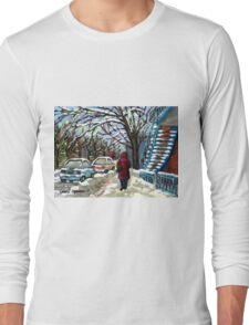 WALKING PAST THE BLUE STAIRCASE VERDUN MONTREAL WINTER SCENE Long Sleeve T-Shirt
