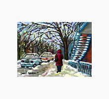WALKING PAST THE BLUE STAIRCASE VERDUN MONTREAL WINTER SCENE Unisex T-Shirt