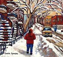 CANADIAN PAINTINGS MONTREAL WINTER CITY SCENE by Carole  Spandau