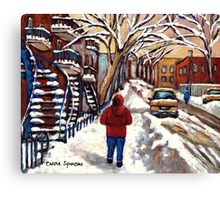 CANADIAN PAINTINGS MONTREAL WINTER CITY SCENE Canvas Print
