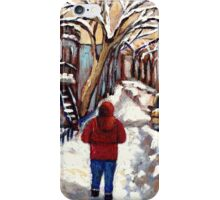 CANADIAN PAINTINGS MONTREAL WINTER CITY SCENE iPhone Case/Skin