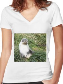 Seal pup Women's Fitted V-Neck T-Shirt