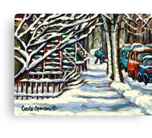 CANADIAN WINTER SCENE MONTREAL CITY SCENE PAINTINGS Canvas Print