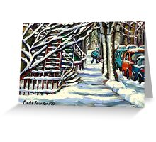 CANADIAN WINTER SCENE MONTREAL CITY SCENE PAINTINGS Greeting Card