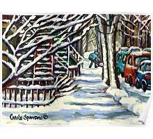 CANADIAN WINTER SCENE MONTREAL CITY SCENE PAINTINGS Poster