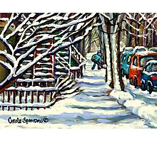 CANADIAN WINTER SCENE MONTREAL CITY SCENE PAINTINGS Photographic Print