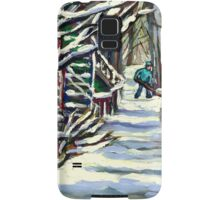 CANADIAN WINTER SCENE MONTREAL CITY SCENE PAINTINGS Samsung Galaxy Case/Skin