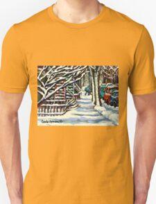 CANADIAN WINTER SCENE MONTREAL CITY SCENE PAINTINGS T-Shirt
