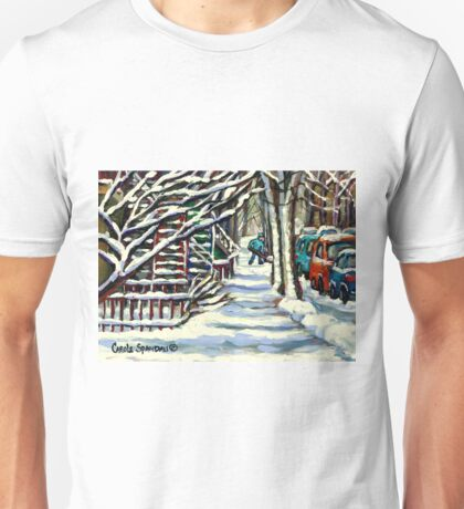 CANADIAN WINTER SCENE MONTREAL CITY SCENE PAINTINGS Unisex T-Shirt