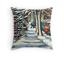 CANADIAN WINTER SCENE MONTREAL CITY SCENE PAINTINGS Throw Pillow