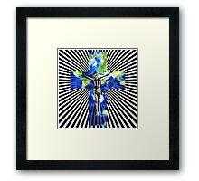 Climate Change Cube Earth Op Art Pop Jesus Framed Print