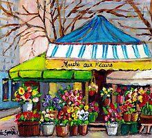 MONTREAL FLOWER SHOP DOWNTOWN OUTDOOR VENDOR by Carole  Spandau