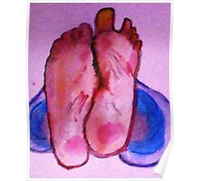 Bare feet in jeans Poster
