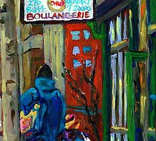 MONTREAL BAGEL SHOPS CANADIAN ART WINTER CITY SCENE by Carole  Spandau
