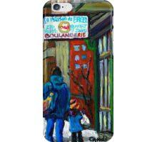 MONTREAL BAGEL SHOPS CANADIAN ART WINTER CITY SCENE iPhone Case/Skin