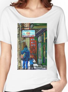 MONTREAL BAGEL SHOPS CANADIAN ART WINTER CITY SCENE Women's Relaxed Fit T-Shirt