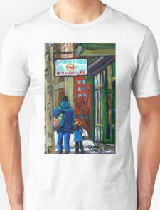 MONTREAL BAGEL SHOPS CANADIAN ART WINTER CITY SCENE T-Shirt