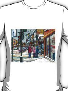 RUE WELLINGTON VERDUN MONTREAL WINTER STREET SCENE T-Shirt