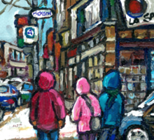 RUE WELLINGTON VERDUN MONTREAL WINTER STREET SCENE Sticker