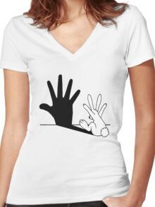 Rabbit Hand Shadow Women's Fitted V-Neck T-Shirt