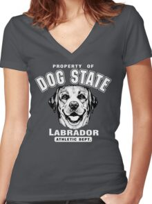 Dog State Labrador Women's Fitted V-Neck T-Shirt