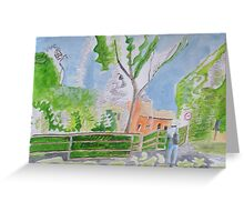 Pink and blue with farmhouse Greeting Card