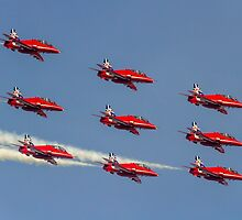 Red Arrows Hawks in Diamond Nine and 2014 Livery by Colin Smedley