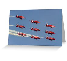 Red Arrows Hawks in Diamond Nine and 2014 Livery Greeting Card