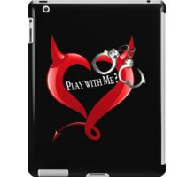 Devil Heart and Handcuffs - White Text, Black background. iPad Case/Skin