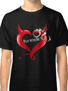 Devil Heart and Handcuffs - White Text, Black background. Classic T-Shirt