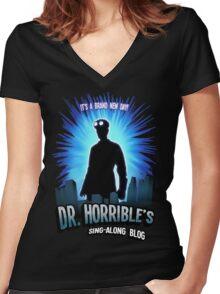 Dr. Horribles sing-along blog  Women's Fitted V-Neck T-Shirt