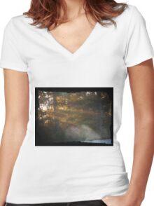 Sunrise through the trees Women's Fitted V-Neck T-Shirt