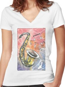 Saxophone Notes Women's Fitted V-Neck T-Shirt