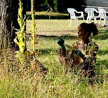 Artist Working in Nature by Diane  Kramer