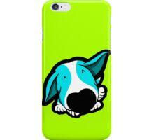 Big Nose Bull Terrier Puppy Aqua iPhone Case/Skin