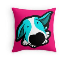 Big Nose Bull Terrier Puppy Aqua Throw Pillow