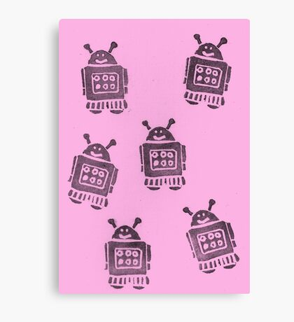 Pink Robots Canvas Print