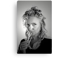 Curly Blonde with Pearls Canvas Print
