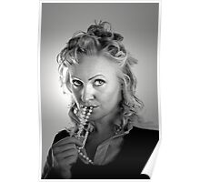 Curly Blonde with Pearls Poster