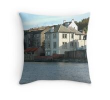 Waterfront houses in South Queensferry Throw Pillow