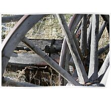 Old Wooden Wagon Wheel - 7890 Poster